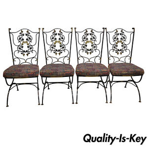 4 Vtg Wrought Iron Black Gold Scrolling Leaf Garden Patio Dining Chairs Wodard