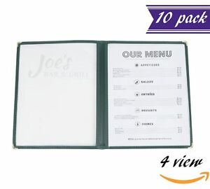 10 Pack Double Fold Panels Menu Covers Green 8 5 X 11 Insert 4 View