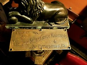 1890 S Heppenstall Trethewey Pittsburgh Pa Shear Knife Machine Co Brass Plaque