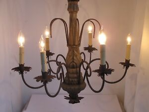 Vintage Carved Wood And Iron 6 Arm Chandelier