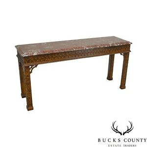 Henredon Chippendale Style Mahogany Marble Top Console Table