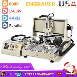 6040 Cnc Router 1500w 4axis Engraver Engraving Drilling Machine Vfd 3d Carver Us