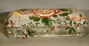 Antique Early Spode New Fayence Hand Painted Transfer Toothbrush Box