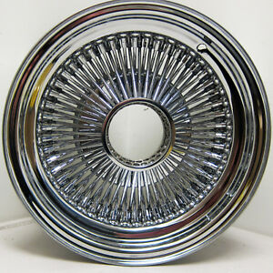 13x7 Standard 100 Spoke Wire Wheels Straight Lace All Chrome Rims Lowrider X1 R