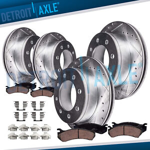 For 2003 2008 Dodge Ram 2500 3500 Front Rear Drilled Rotors Ceramic Brake Pads