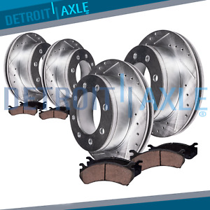 Rear Front Brake Rotors Brake Pads Dodge Ram 2500 3500 Slotted Rotor Brakes