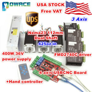 usa 3 Axis Nema23 112mm Stepper Motor 425oz in Dual Shaft Cnc usbcnc Driver Kit