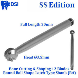 Dsi Dental Bone Cutting Shaping Surgical Round Cutter Burs Gold 3 5mm L 30mm