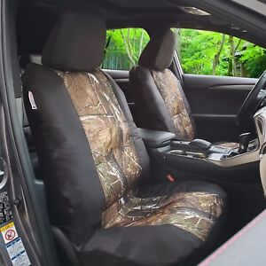 Pair Premium Camo Black Canvas Car Seat Covers Universal For Tacoma Frontier
