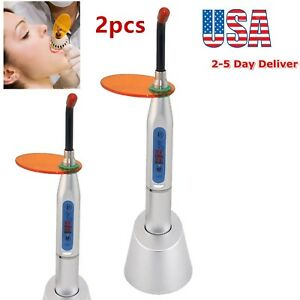 2x Led Dental Curing Light Lamp Teeth Whitening 10w Wireless Cordless 2000mw Us
