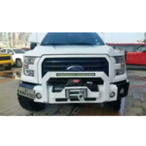 Front Bumper Hood Winch Plate Heavy Duty For Ford F150 2016 2018 Texture Black