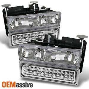 Fits 88 98 Chevy Gmc C k Pickup Suburban Tahoe Glass Headlights led Bumper Lamps
