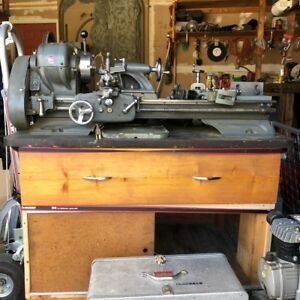 Vintage Atlas Metal Lathe Includes Custom Storage Drawers And Extras