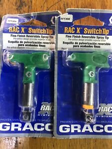 2 Graco Fft208 Rac X Fine Finish Reversible Switchtip Spray Tip