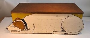Antique Hand Made And Painted Primitive Folk Art Jack Russell Terrier Dog Box