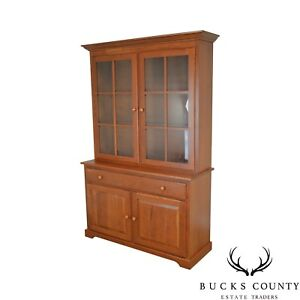 Woxall Woodcraft Hand Crafted Solid Cherry China Cabinet Hutch