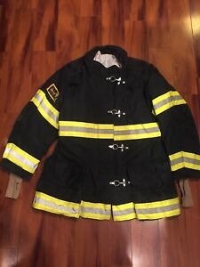 Firefighter Janesville Lion Apparel Turnout Bunker Coat 44x35 Black Costume