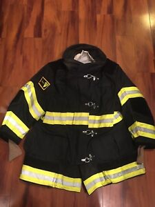 Firefighter Janesville Lion Apparel Turnout Bunker Coat 48x32 Black Costume