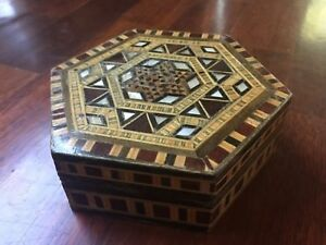 Vintage Hand Made Spanish Marquetry Hexagon Shaped Wood Shell Inlay Mosaic Box