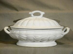Antique Staffordshire White Ironstone Ceres Shape Oval Large Tureen