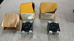 Lot Of 2 Hubbell 7301g Porcelain Receptacle Outlet 4w Wire 60a Amps 250v Volts