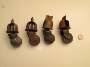 Set 4 Vtg Steel Furniture Casters Metal Industrial 1 3 4 D Wheel Repair Cage