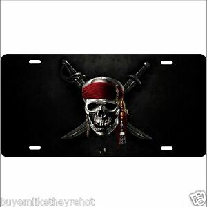 Jolly Roger Pirate Ship Aluminum License Plate Glossy Baked On Finish Very Cool