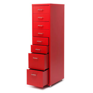 Red 8 drawer Metal Detachable Mobile Filing Cabinet Home Office 4 Casters W5c2