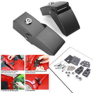 Pair Locking Hood Lock Catch Latches Kit For Jeep Wrangler Jk Unlimited 07 17