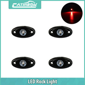4x Cree Red Led Rock Light Off Road Under Wheel Lamp Car Truck Jeep Trail