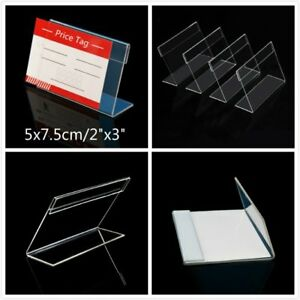 100 Clear Acrylic Sign Display Holder Price Tag Label Stand 5cm X 7 5cm 2x3 Inch