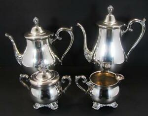 Wm Rogers Son Victorian Rose Coffee Tea Set Sugar Creamer Silverplate 1901 04