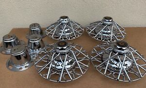 4 Matching Nos Wire Spoked Hubcap Wheel Covers Adapters 12