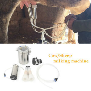 2l Portable Electric Milking Machine Vacuum Pump For Farm Cow Sheep Goat New