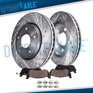 Front For 2006 2010 Commander Grand Cherokee Drilled Rotor Ceramic Brake Pad