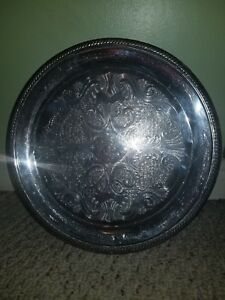 Vintage Fb Rogers Silver Plated Round Serving Tray 12