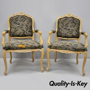 Pair Of Vintage Chateau D Ax Spa French Louis Xv Style Chairs Italian Armchairs