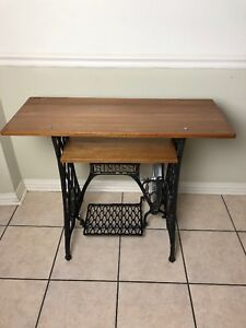 Antique 1890 S Cast Iron Singer Treadle Sewing Machine Base Table Stand Tv