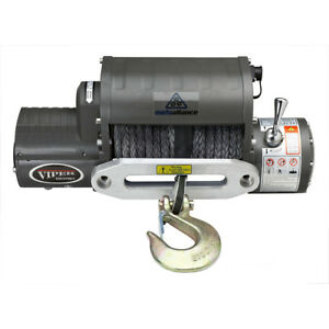 Viper 12 000 Lb Recovery Winch With 85 Ft Of Black Synthetic Rope Jeep 4x4 12000