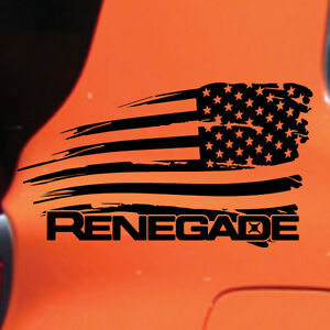 Jeep Renegade Distressed American Flag Graphic Vinyl Decal Sticker Side Chrome