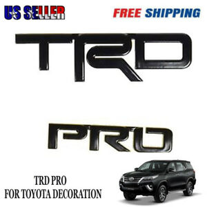 Fit Toyota Tacoma Trd Pro Black Painted Metal Car Emblems Pt41300150 2 Pieces