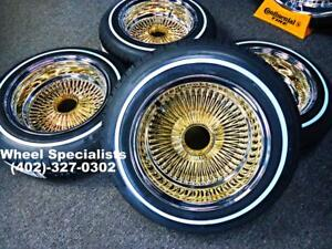 13x7 Inch Reverse Gold Chrome 100 Spoke Wire Wheels Whitewall Tires New Set 4
