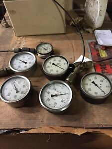 Oil Filled Hydraulic Gauges set Of Six 0 100bar 0 60 Bar 0 3000psi Set Of 6