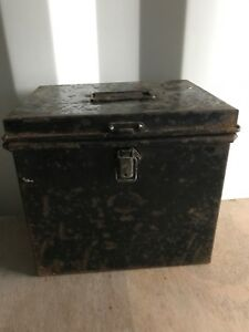Vintage Trunk Deed Box Storage Documents Small Black Metal Tin Retro