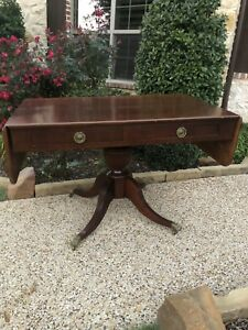 Duncan Phyfe Styled American Antique Mahogany Entry Occasional Writing Table