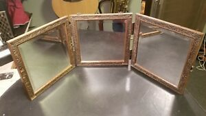 Vintage Antique Victorian Tri Fold Beveled Glass Hanging Mirror Carved Embossed