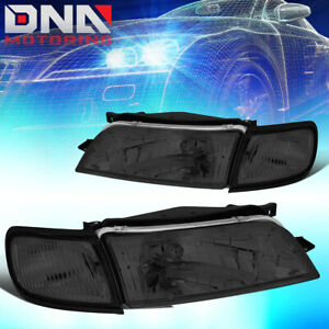 For 1997 1999 Nissan Maxima Smoked Hosuing Clear Side Front Driving Headlight