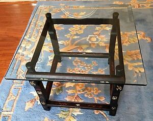 Antique Chinese Furniture Coffee Table With 24 Square Glass Top Repurposed