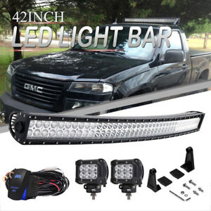 Curved 42 Led Light Bar Offroad Lamp For Chevy Colorado Gmc Canyon 2004 2012
