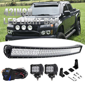 42 Curved Led Light Bar W 4 Led Fog Light For 04 12 Chevy Colorado canyon